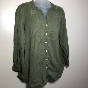 Large JM COLLECTION Olive Green Button Down Top
